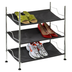 3-Shelf Shoe Rack, Chrome & Black