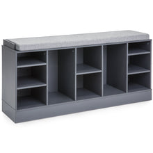 Load image into Gallery viewer, Shoe Storage Rack Bench w/ Padded Seat, 10 Cubbies