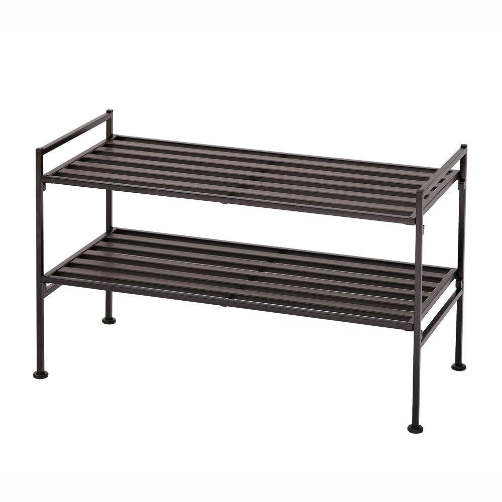2-Tier Slatted Resin Stackable Folding Shoe Rack in Mocha Finish