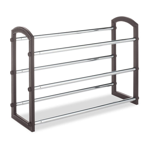 Expandable 3 Tier Shoe Rack in Faux Leather and Chrome