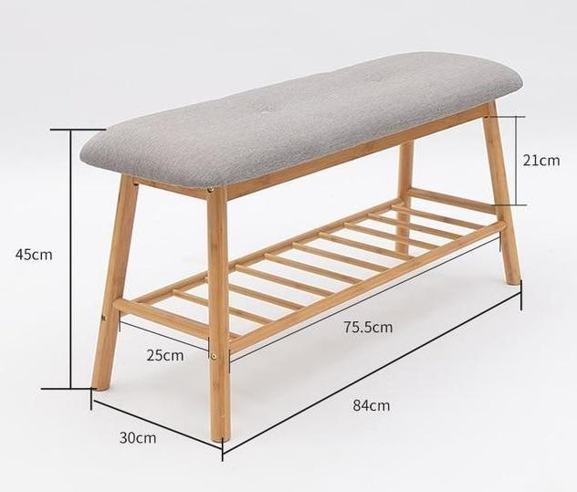 Solid Wood Minimalistic Shoe Rack Bench