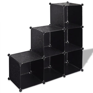 Black Storage Cube Organiser with 6 Compartments 110 x 37 x 110 cm