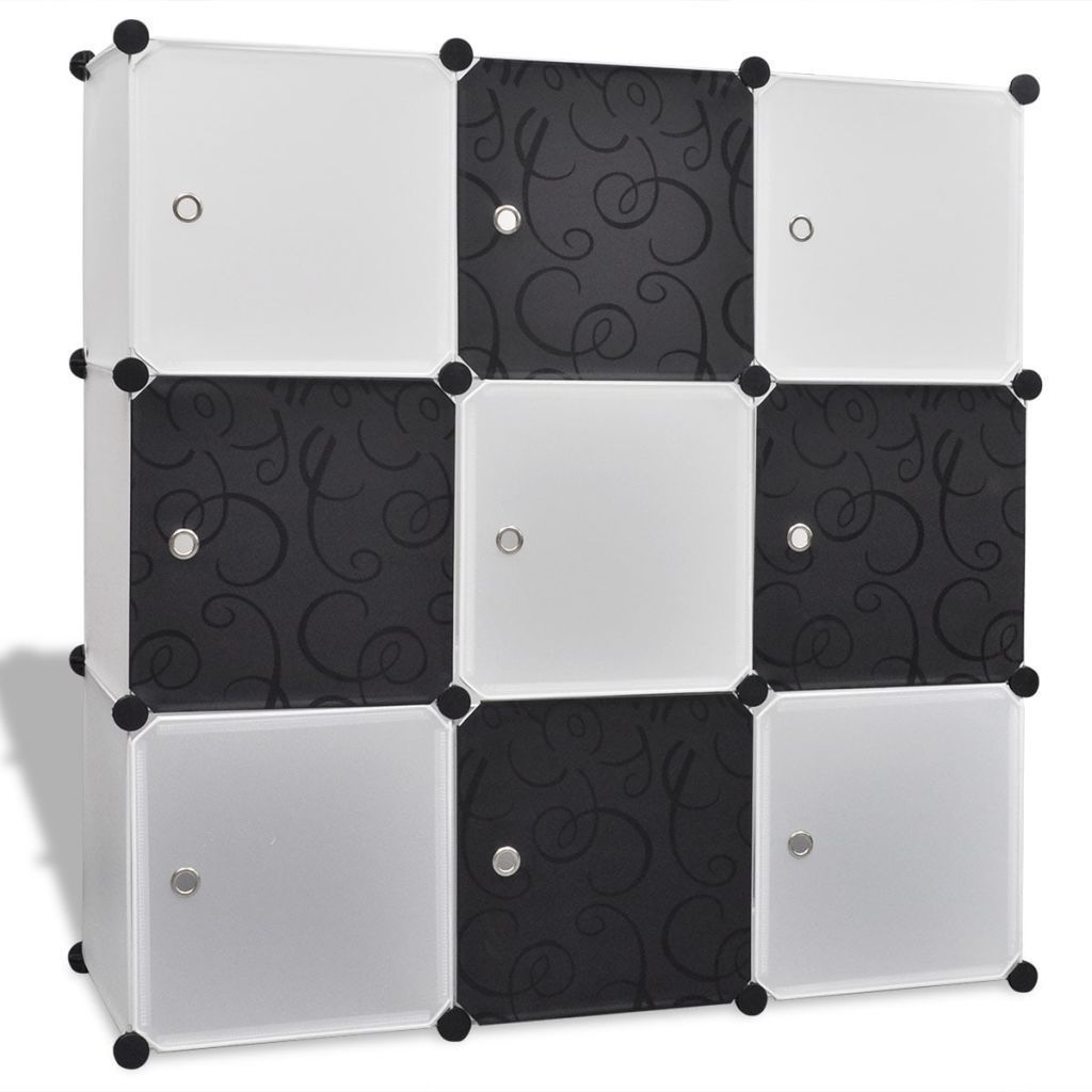 Black-white Storage Cube Organiser with 9 Compartments 110x37x110 cm