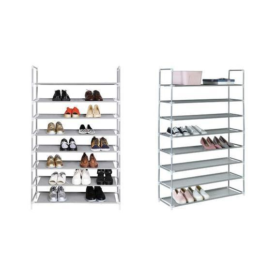 Eight-Tier Metal Shoe Rack – Holds Up To 40 Pairs