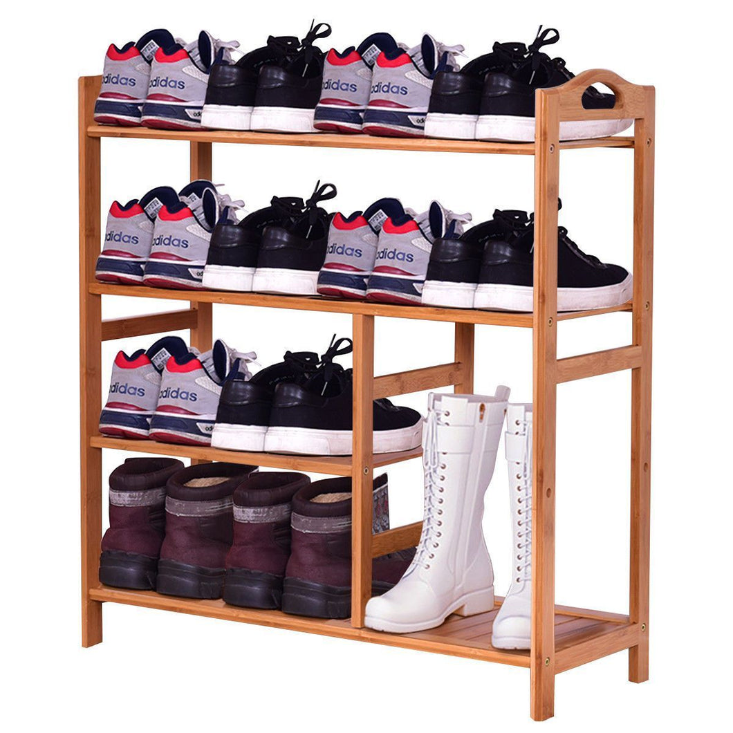 4 Tier Multifunction Bamboo Shoe Rack Boot Tower Shelf Modern Home Shoes Storage Organizer Stand