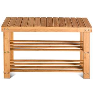 2-Tier Bamboo Shoe Bench Entryway Storage Racks