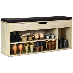 Wooden Rack Shoes Bench with Storage Upholstered Shoe Rack-Natural