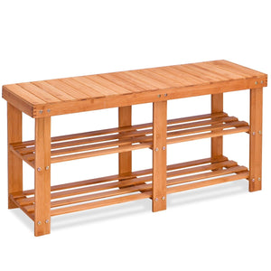 Entryway Bamboo Shoe Storage Rack Bench