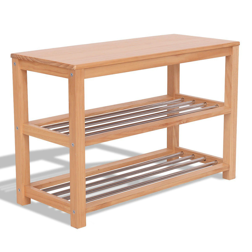 3-Tier Wooden Shoe Rack Storage Bench