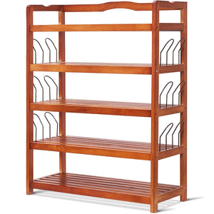 5-Tier Wooden Entryway Storage Shoe Rack w/ 6 Shoe Stretcher-Wood