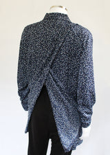 Kimberley Petal Back Long Sleeve Blouse - Navy Dot