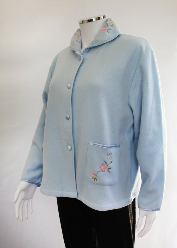 Slenderella Fleecy Bed Jacket - Blue