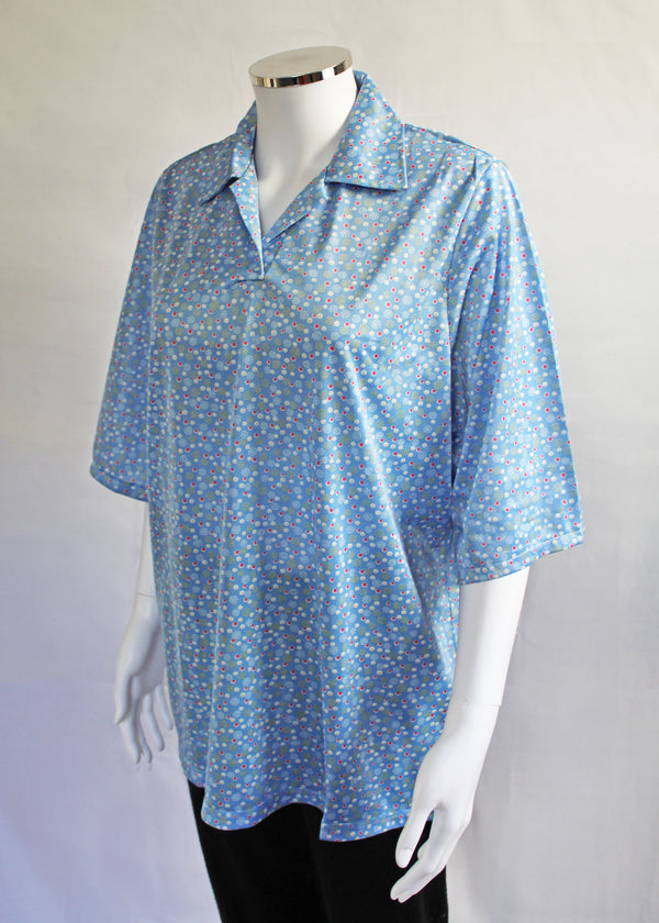 Rachel Petal Back Polo - Blue Dot