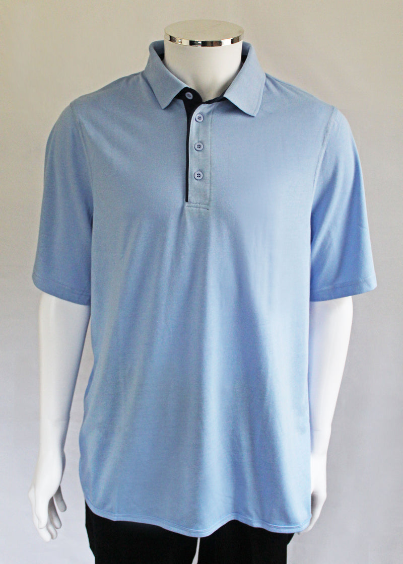 Petal Back Polo Shirt Short Sleeve - Light Blue