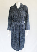Kimberley Petal Back Long Sleeve Dress - Navy Dot VAT Relief