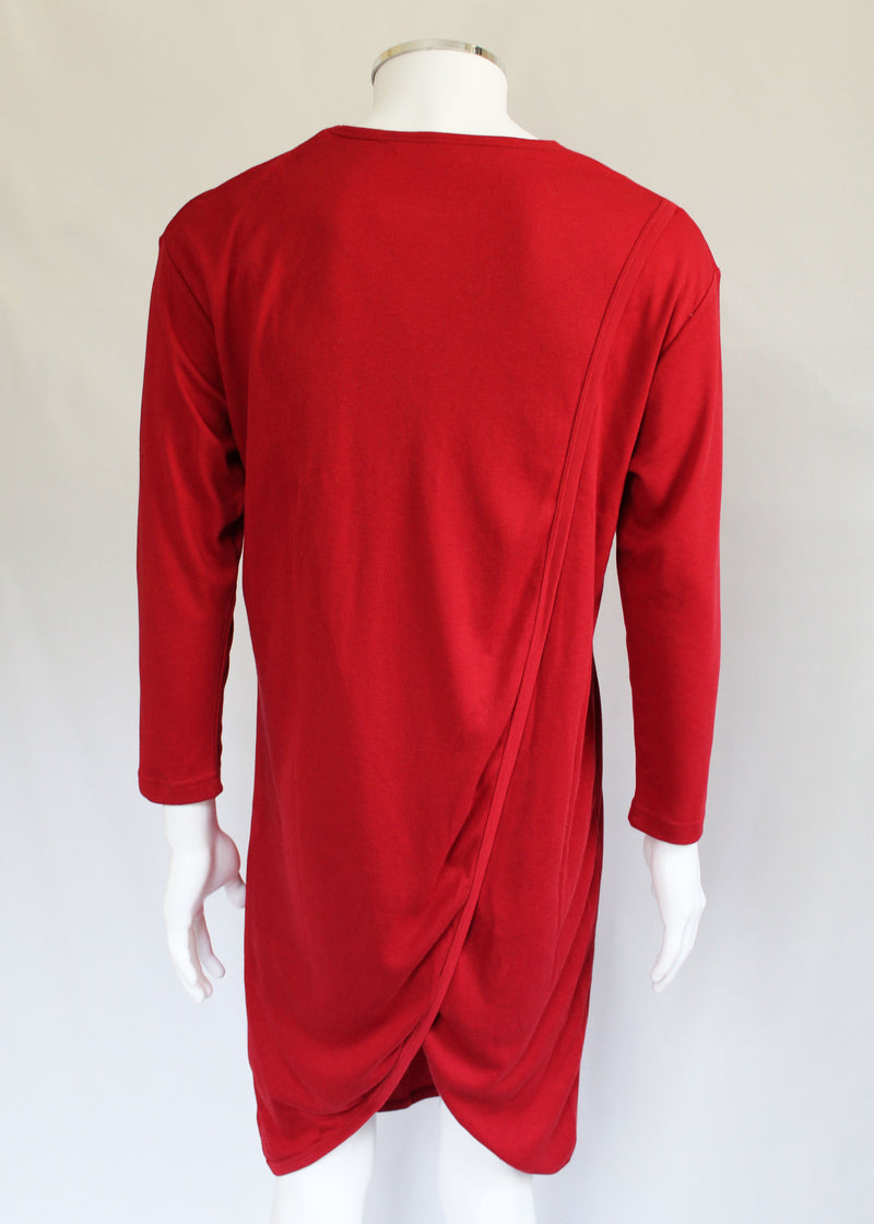 Petal Back Open Back Nightshirt Long Sleeve - Red