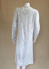 Fiona Long Sleeve Front Button Jersey Cotton Nightie Blue