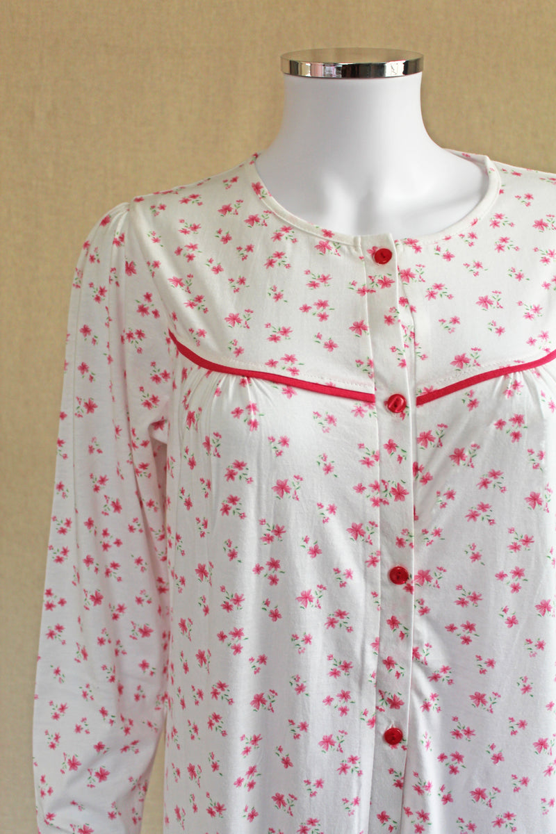 Fiona Long Sleeve Front Button Jersey Cotton Nightie