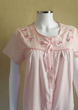 Clara Short Sleeve Embroidered Polycotton Front Button Nightie - Pink