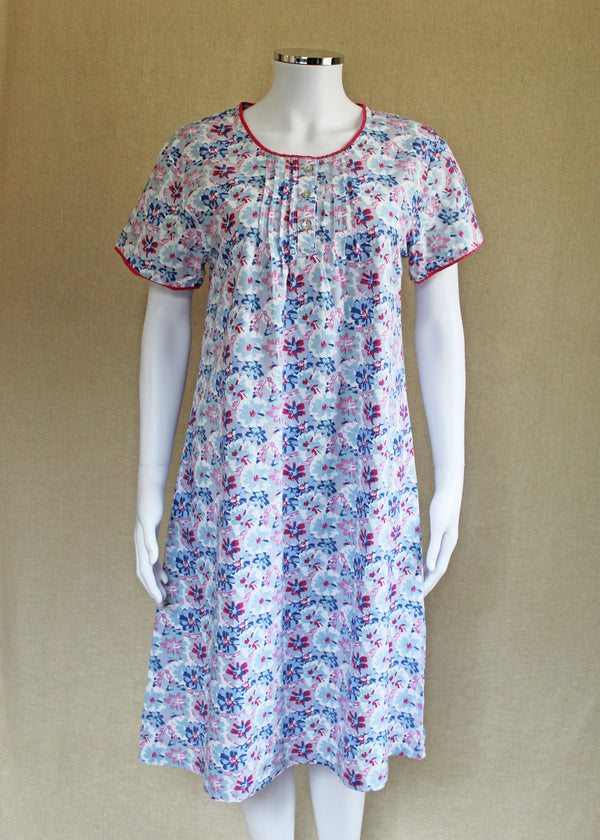 Short Sleeve Round Neck Pure Cotton Painted Flower Nightie