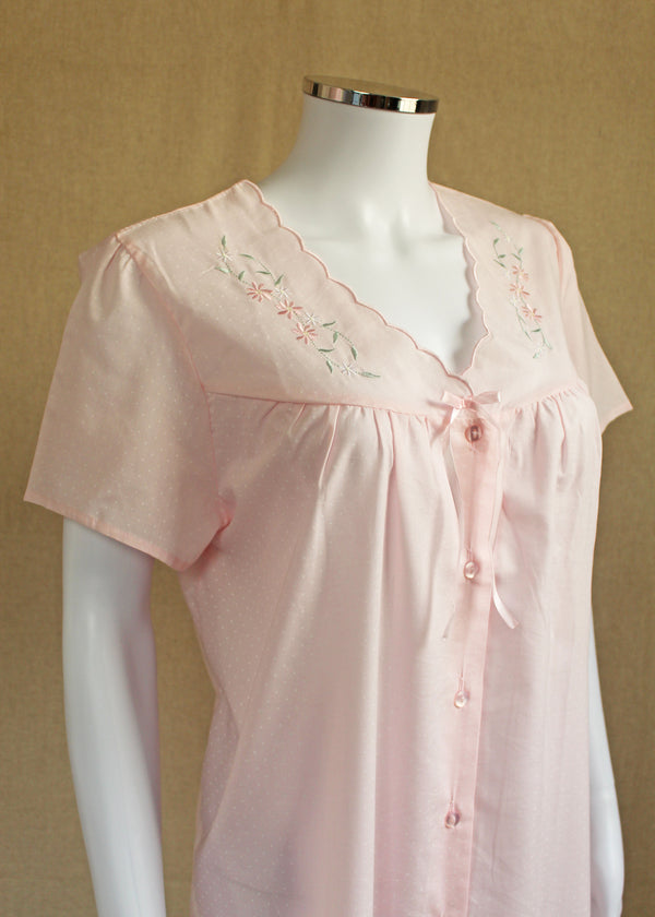 Diana Short Sleeve V Neck Front Button Polycotton Nightie - Blue or Pink