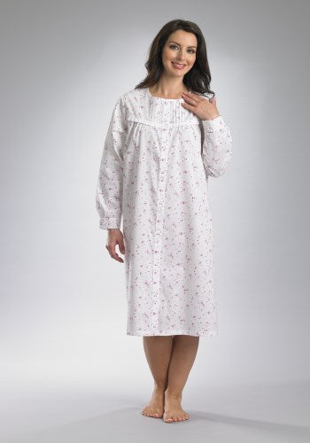 Long Sleeve Front Button Polycotton Nightie