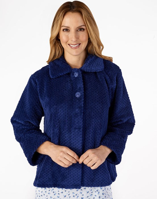 Slenderella Luxury Waffle Fleece Bed Jacket - Blue