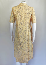 Adaptawear Short Sleeve Wrap-Over Dress Yellow Paisley VAT Relief