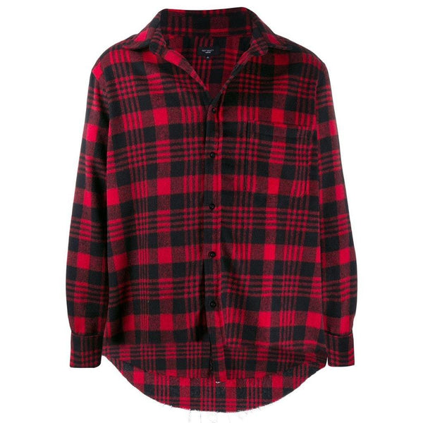 Checked flannel shirt jacket