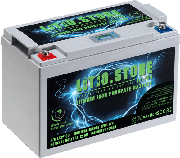 Batterie LiFePO4 12V 100Ah LCD display Lithium Fer Phosphate +BMS +10A charger