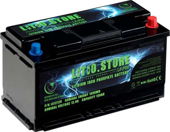 Batterie LiFePO4 12V 120Ah Lithium Fer Phosphate +BMS +10A charger