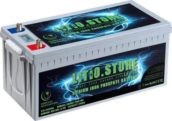 Batterie LiFePO4 12V 200Ah LCD display Lithium Fer Phosphate +BMS +10A charger