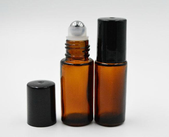 Roll on Bottle 5ml Amber Glass / refillable / Essential Oil Roller Bottle