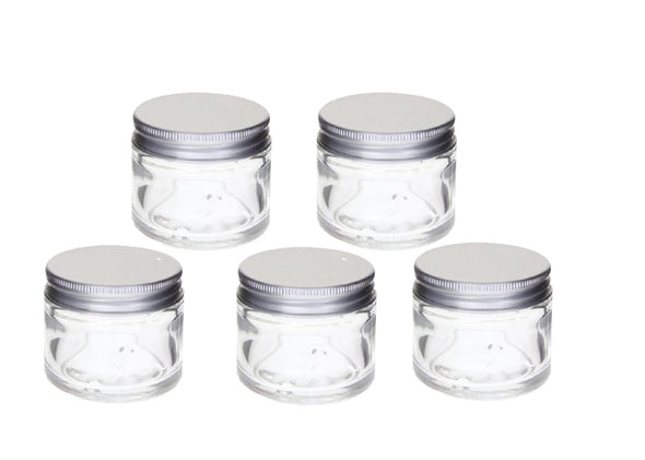 Glass Pots 15gm / Lip Balm Pots / Clear, Aluminium Lid