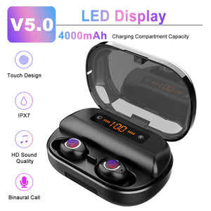 60%-OFF 2019 Latest Style Wireless Bluetooth Earbuds With charging display 4000mAH Long Battery Life