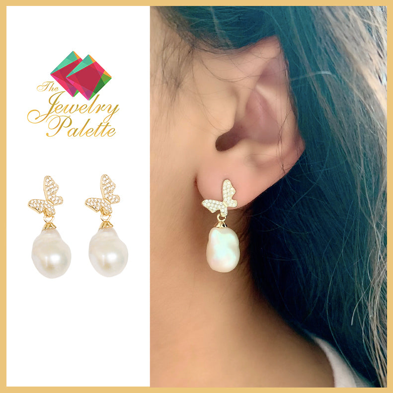 Simone butterfly white pearl drop earrings