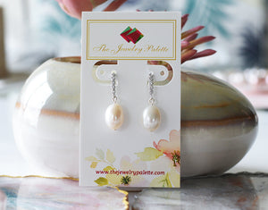 Adele lustrous freshwater pearl and silver earrings - The Jewelry Palette