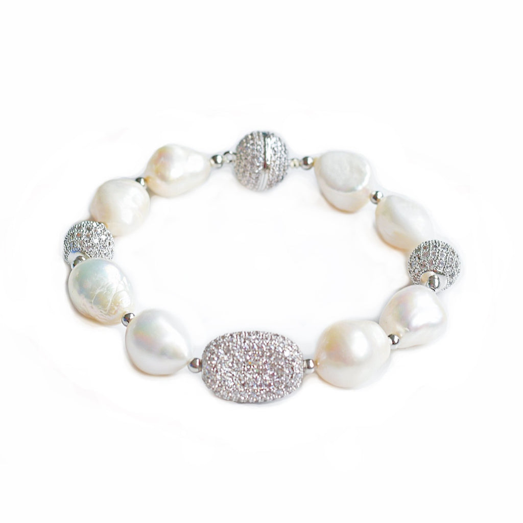 Adele white freshwater pearl and silver bracelet - The Jewelry Palette