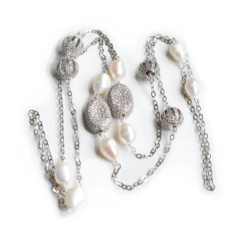 Adele white freshwater pearl and silver chain necklace - The Jewelry Palette