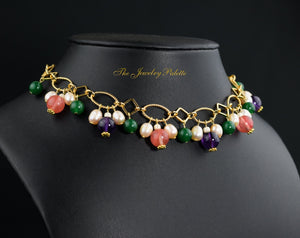 Aghna metal link choker necklace with gemstones - The Jewelry Palette