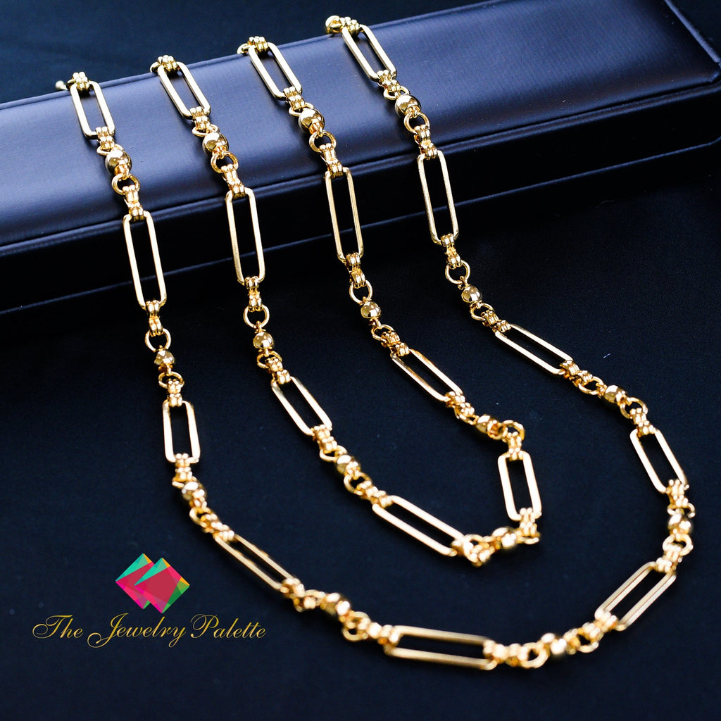 Amy trendy rectangle metal link chain necklace - The Jewelry Palette