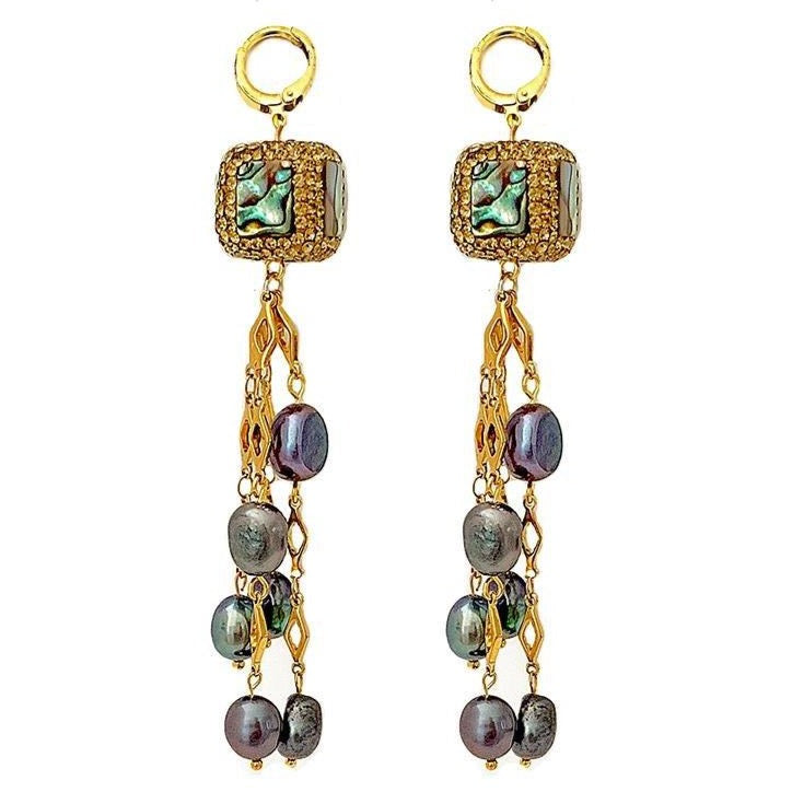 Andrea sparkling abalone and grey pearl tassel long earrings - The Jewelry Palette