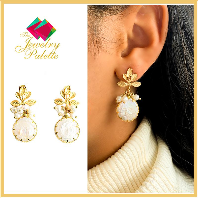 Arianna white baroque coin pearl and intricate gold leaf earrings - The Jewelry Palette