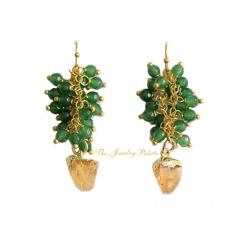 Asna green cluster with unique gold gemstone drop earrings - The Jewelry Palette