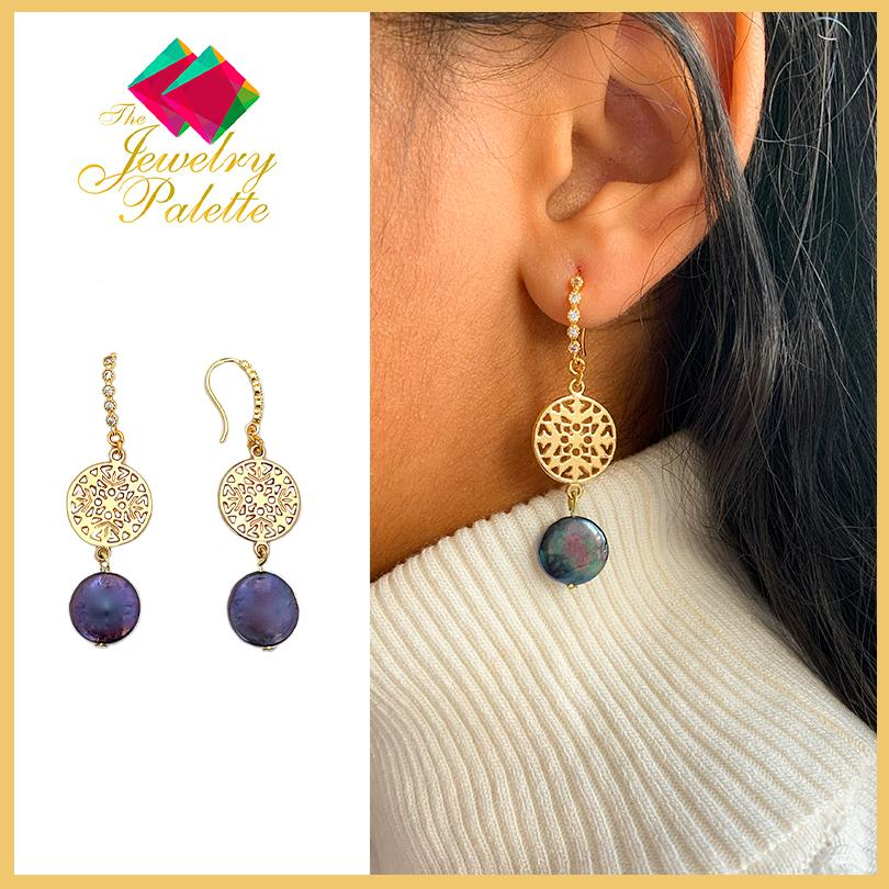 Aurora midnight blue baroque coin pearl and gold filigree earrings - The Jewelry Palette