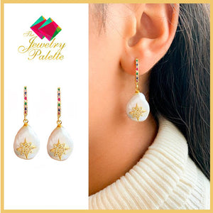 Ayleen white freshwater baroque pearl and gemstone earrings - The Jewelry Palette
