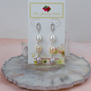 Belle lustrous multicolor freshwater pearl drop earrings - The Jewelry Palette