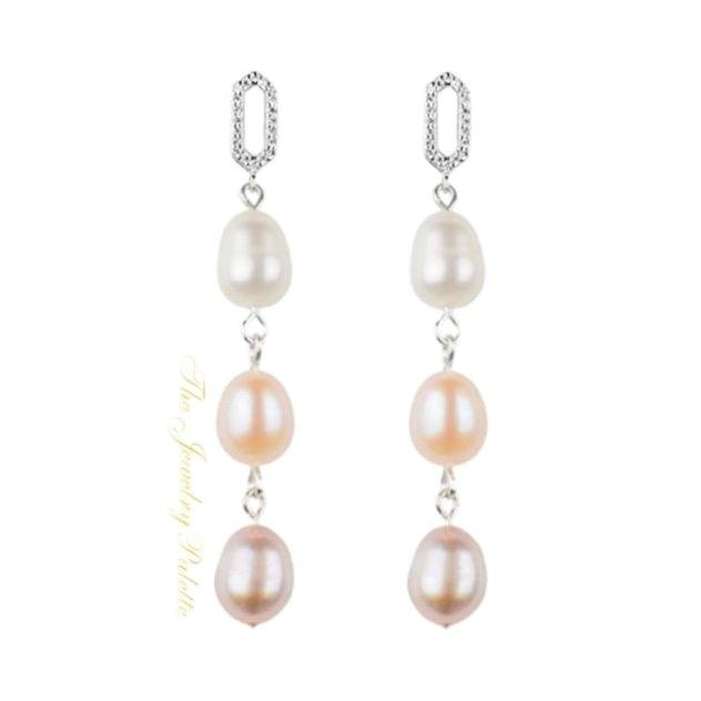 Belle lustrous multicolor freshwater pearl earrings - The Jewelry Palette