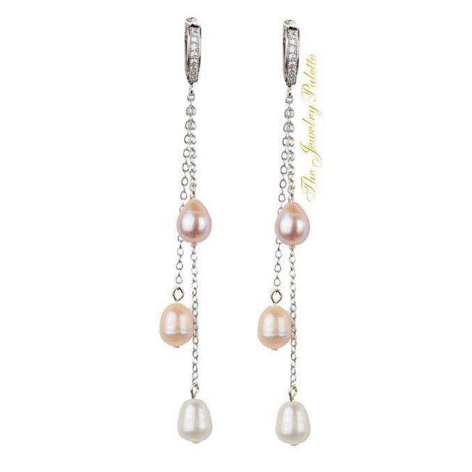 Belle lustrous multicolor freshwater pearl tassel earrings - The Jewelry Palette