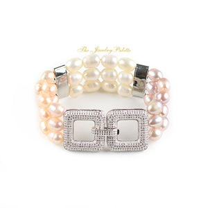 Belle lustrous multicolor freshwater pearl three tier bracelet - The Jewelry Palette